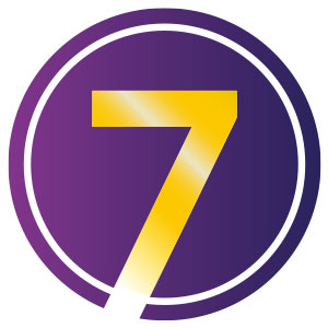 a purple circle with the number 7 in the centre